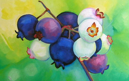 blueberries oil painting
