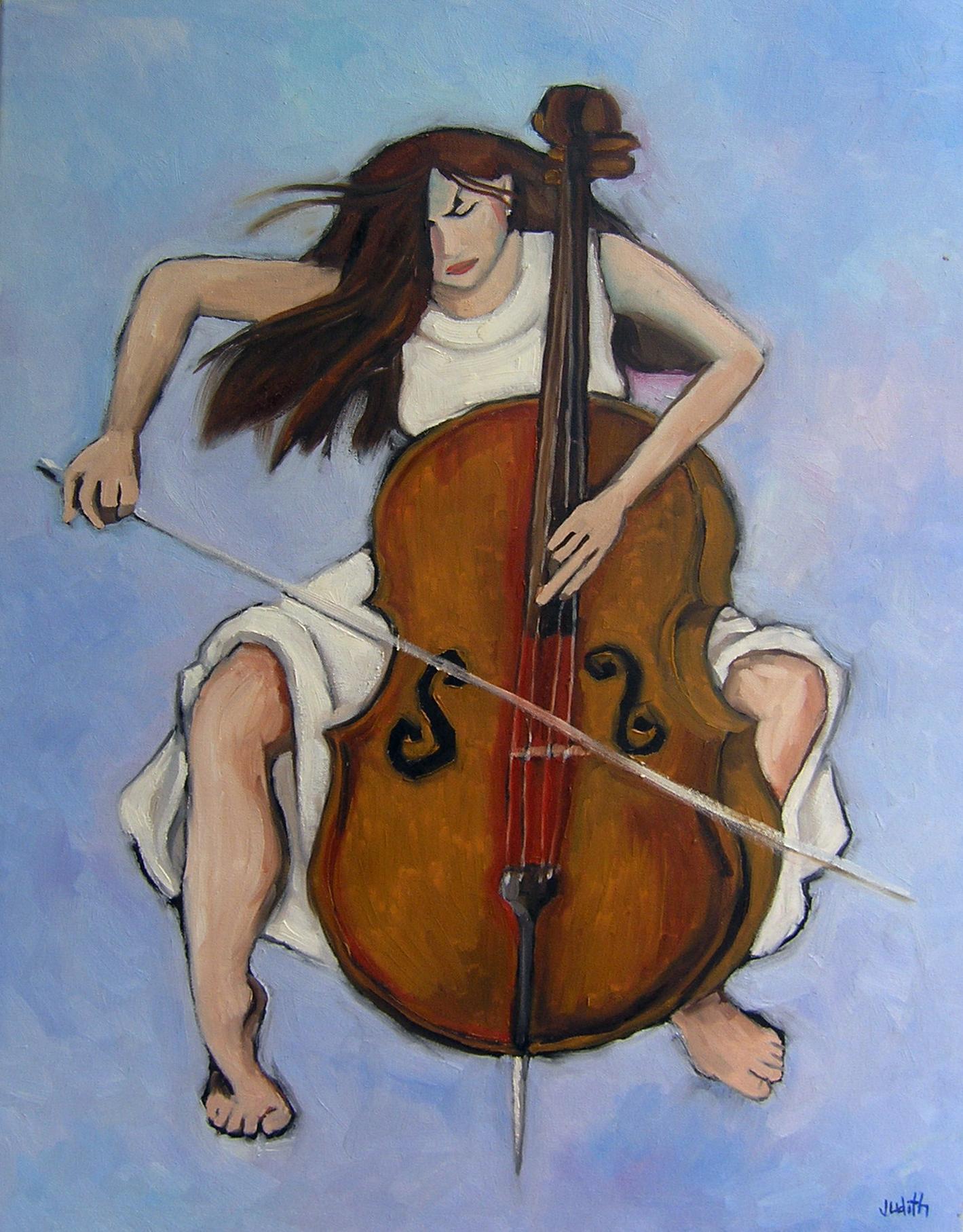 Cellist - Oil on Canvas