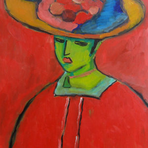 Oil on canvas interpretation of Alexej von Jawlensky's Schokko with Wide Brimmed Hat.