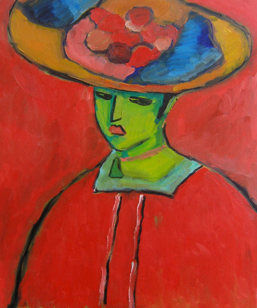 Oil on canvas interpretation of Alexej von Jawlensky's Schokko with Wide Brimmed Hat.